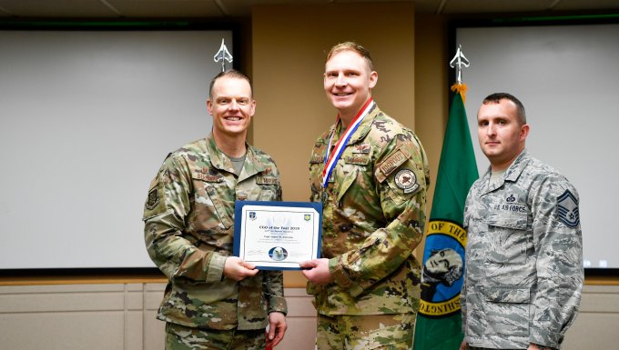 Capt. Jason Allenton is awarded the Western Air Defense Sectors 2019 Company Grade Officer of the Year award